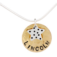 Hammered Gold Disc with Speckled Star Necklace