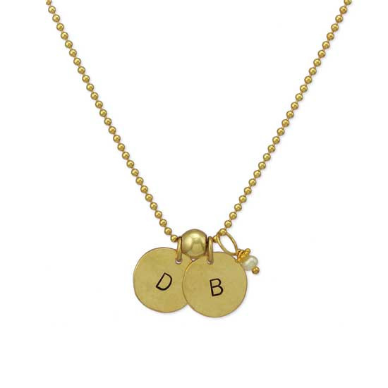Hammered Gold Initial Disc