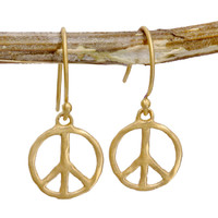 Hammered Matte Peace Earrings - gold or silver