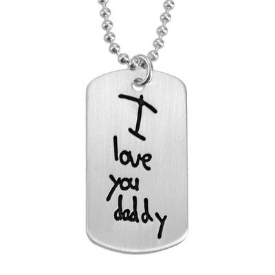 Handwritten note on necklace for man
