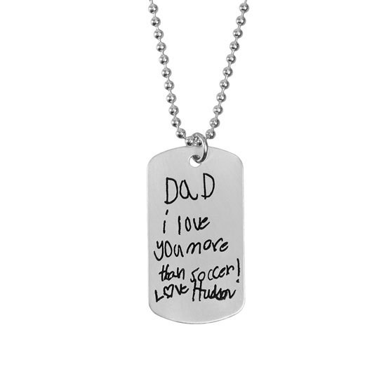 Handwriting military tag memorial necklace for man