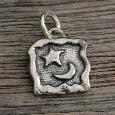 Moon and Star in a Square Charm