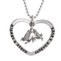 Open Heart with Lovebirds Necklace