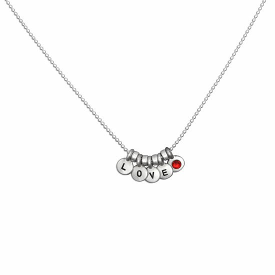 Hand stamped birthstone necklace