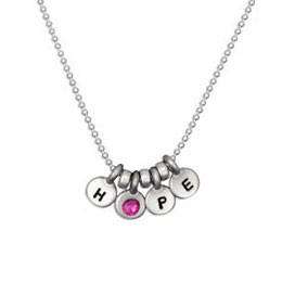 Hope with pink stone necklace