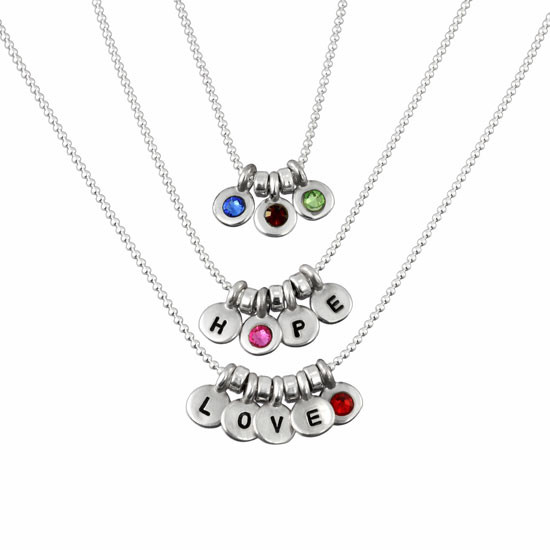 Various options of birthstone initials necklace