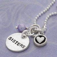 Sisters with Purple Pearl & Circle Heart Necklace
