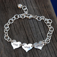 Small Hearts Hand Stamped Bracelet