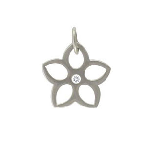 Sterling Silver Flower Cutout with Diamond