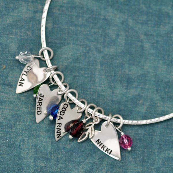 Sterling Hammered Bangle Charm Bracelet