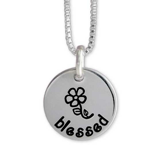 """1/2"""" disc with Large Flower Symbol with blessed curved underneath in Kissme Font"""