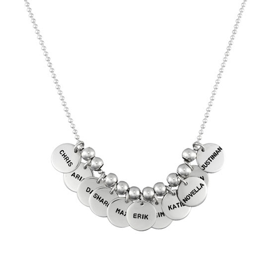 "Necklace with eleven 1/2"" sterling name discs"