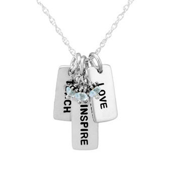 Teach, Inspire, Love Necklace with Stone Cluster