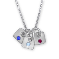 Tiny Squares Birthstone Necklace