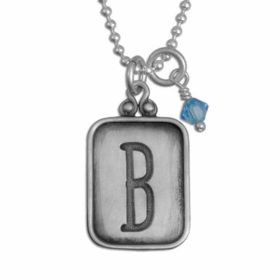 Vintage Initial Hand Stamped Necklace