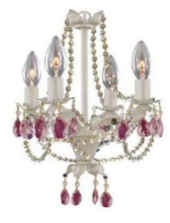 Creative Motion  14.4'' Mini Chandelier (Pink) with CFL Bulbs