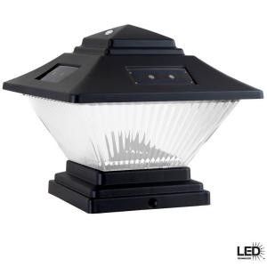 Hampton bay post cap outdoor black solar led lights 4 pack the image 1 aloadofball Gallery