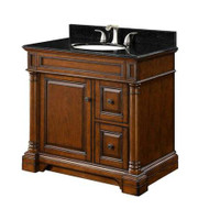 "FEBO F10AE006023V Bradford 37"" Vanity Set in Dark Cherry with Vanity Top in Mongolia Black"