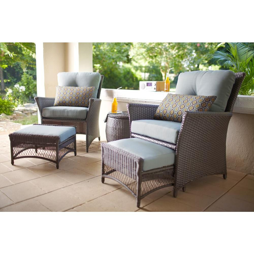 Blue Hill 5 Piece Woven Patio Chat Set The Open Box Shop