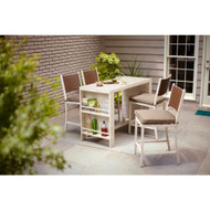 Hampton Bay Shoreway Coastal 5-Piece Patio Bar Set with Taupe Cushions