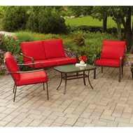 MS Stanton Cushioned 4-Piece Patio Conversation Set - Red, Seats 4