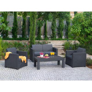 Keter Limousine 4-Piece Patio Conversation Set with Charcoal Cushions