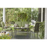 Hampton Bay Fall River 4-Piece Patio Seating Set with Moss Cushion