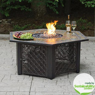 Slate Tile Hexagon Propane Gas Fire Pit in Bronze
