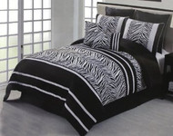 8 Piece Black and White Flocking Zebra Comforter Bed in a Bag Set Queen