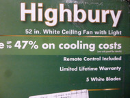 Hunter Highbury 52 in. Indoor White Ceiling Fan model 52007