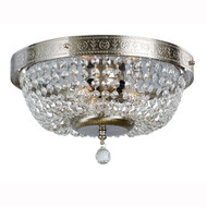 3-Light Brushed Nickel Flush Mount with Crystal Accents