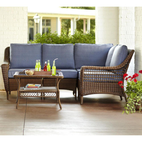 Spring Haven Brown 5 Piece All Weather Wicker Patio Sectional Seating Set
