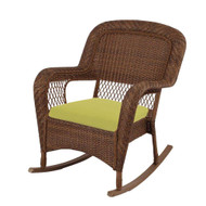 SET OF 2 - Charlottetown Brown All-Weather Wicker Patio Rocking Chairs with Green Bean Cushion