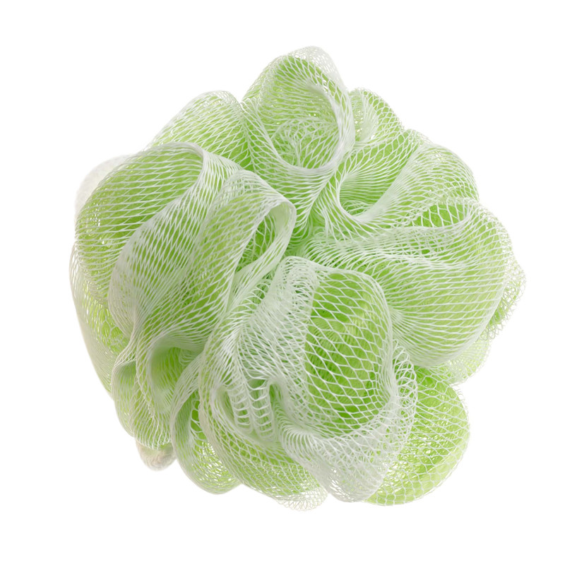 This green and white pouf helps you apply Vitabath's Gelee or Exfoliating Sugar Scrub in the bath or shower.