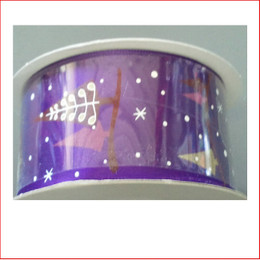 Purple Ribbon with Tree & Snow Print- 38mm is a modern/contemporary style ribbon which is great for decorating colour christmas displays