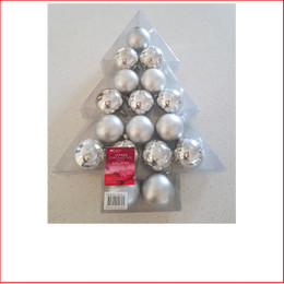 50mm Tree Box Baubles Silver