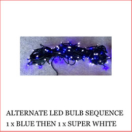 The 160 LED Lights Blue and Super White Colour christmas lights are a great size to decorate a small christmas tree or other christmas display pieces like wreaths, garlands, wall trees, topiary balls. The LED Lights are alternate, 1 x blue led then 1 x white led. Decorating with christmas Led fairy lights is endless as the led lights can be used Indoor/Outdoor and you can create to your imagination. Led Lights can be used on your gutter, roof or your Jacaranda Tree in the front yard. The beauty of the LED Lights is that they are energy efficient and very little power is used and you can enjoy a joyful Merry Christmas at low energy cost. Led Lights are also used at bday parties and all special celebrating events.