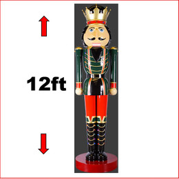 The Polyresin King Nutcracker 12ft, a beautiful Nutcracker the King of all Nutcrackers. Massive Polyresin Statue with extensitive detail. Looks great in your christmas display with Christmas Trees, Santa Throne, Candy Cane or if you just need to of them to keep guard of your christmas display. The King Nutcracker 12ft is seen in many shopping centres and corporate window christmas display.