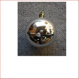 100mm Christmas Bauble - Silver - Wired Glossy
