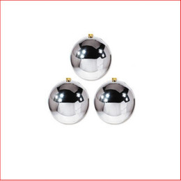 200mm Christmas Bauble - Silver - Wired Glossy, Sold Individually