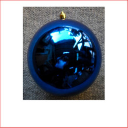 200mm Christmas Bauble - Blue - Wired Glossy, Sold Individually