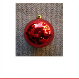 50mm Christmas Bauble - Red - Wired Glossy