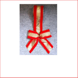 Christmas Ribbon-Red Velvet with Sheer Gold Strip -65mm , Single bows can be pre made by our christmas designers, available and sold in quantities of 10