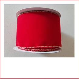 The Christmas Ribbon Red Velvet with Gold Trim -75mm is a traditional colour which is very popular as the traditional colour red is a colour that doesn't outdate. Christmas Ribbon Red Velvet with Gold Trim -75mm is very plush and stylish and a favourite for corporate clients. Christmas Ribbon Red Velvet with Gold Trim -75mm a beautiful and popular ribbon.
