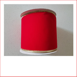 The Christmas Ribbon Red Velvet with Gold Trim -100mm is a traditional colour which is very popular as the traditional colour red is a colour that doesn't outdate. Christmas Ribbon Red Velvet with Gold Trim -100mm is very plush and stylish and a favourite for corporate clients. Christmas Ribbon Red Velvet with Gold Trim -100mm will suit all large christmas trees and large wreaths as the width of the ribbon is 100mm.
