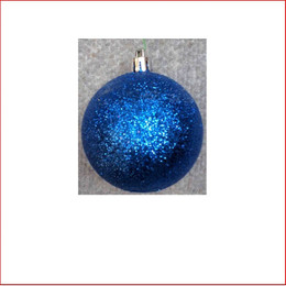 70mm Glittered Christmas Bauble -Blue-Wired