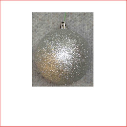 100mm Glittered Christmas Bauble -Silver-Wired