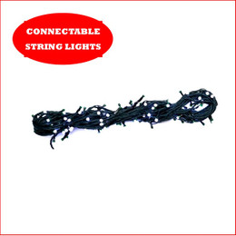 1 String x 100 LED Lights Connectable Super White ( PLEASE NOTE ADAPTOR AND TRANSFORMER SOLD SEPARATELY ). A great design where you can connect an additional 9 strings of 100 Led's in a straight line 10 x String LED Lights in a Straight Line Adaptor and transformer, a total length of 10 Strings consisting of 1000 LED Lights and a 100 metres of light.