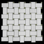 Statuary Crystal Marble Italian White Statuario Basketweave Mosaic Tile with Green Dots Polishe