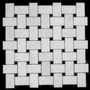 Statuary Crystal Marble Italian White Statuario Basketweave Mosaic Tile with Nero Marquina Black Dots Honed